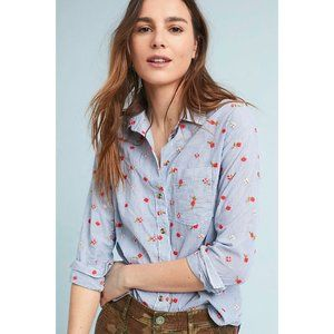 Anthro Maeve Blue Agda Embroidered & Striped Shirt